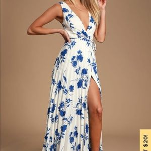 Lindsie Blue White Floral Print Pleated Wrap Maxi